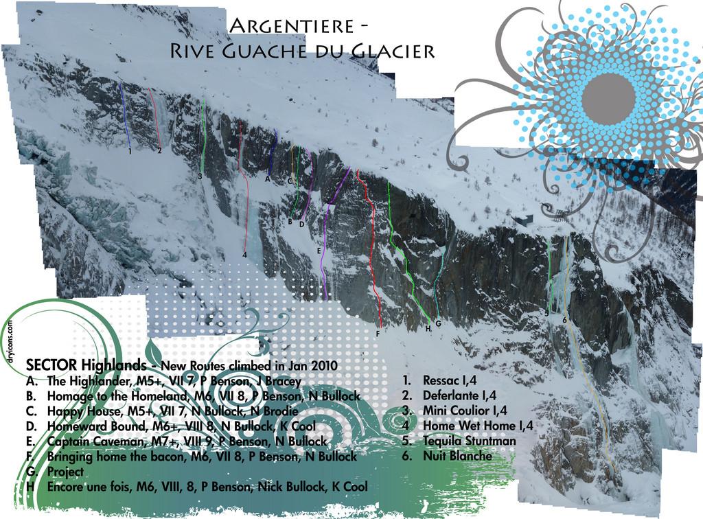 Topo Cascade Argentiere - Mur Dent de la Mer